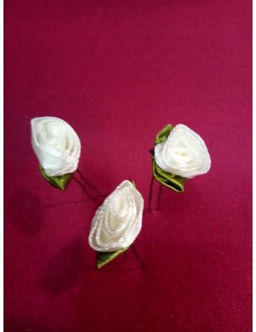 "Epingle chignon mariée, modèle ""Rose feuille satin"""