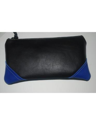 Trousse en cuir noir et bleu