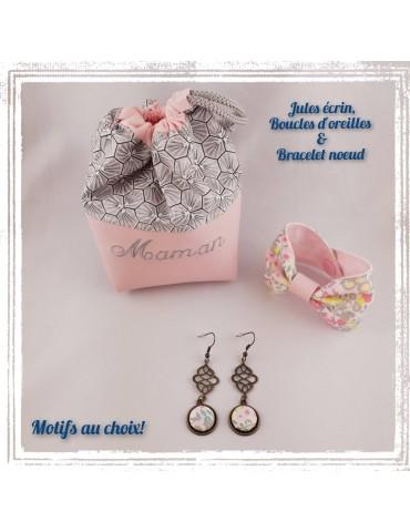 Coffret Jules écrin, boucles d'oreilles et bracelet noeud (personnalisable!)