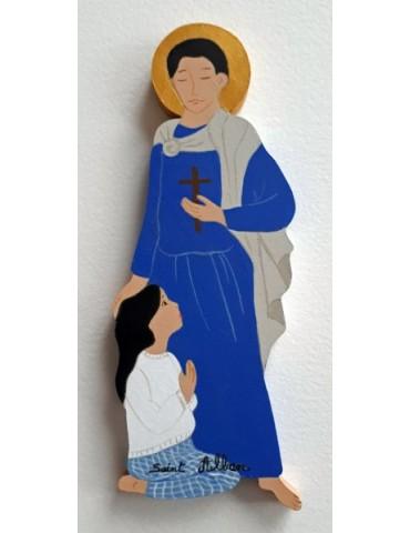 Saint Patron en bois peint...